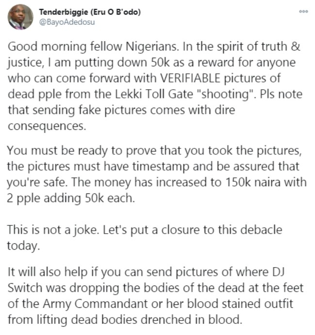 Lekki Massacre: Canada-based researcher to give N1.125m reward to anyone with evidence of casualties