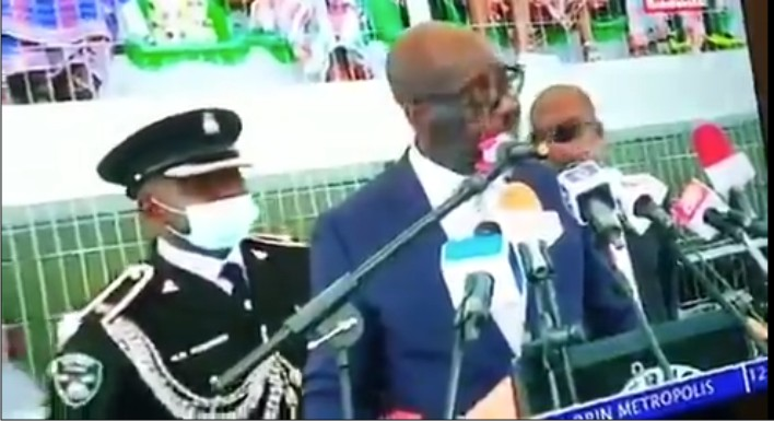 Watch: Moments Gov Obaseki's ADC collapses live on TV during inauguration today (Video)