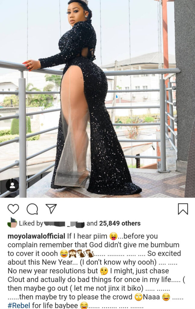 "God didn't give me bum to cover it"" Moyo Lawal says as she shows off her thigh and bum"