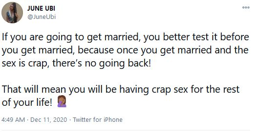 'Test It Before You Get Married' –June Ubi Advices Aspiring Couples To Have S*x