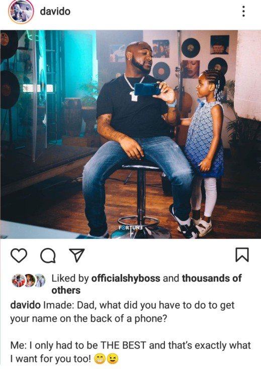 Adorable photo of Davido and his first daughter, Imade