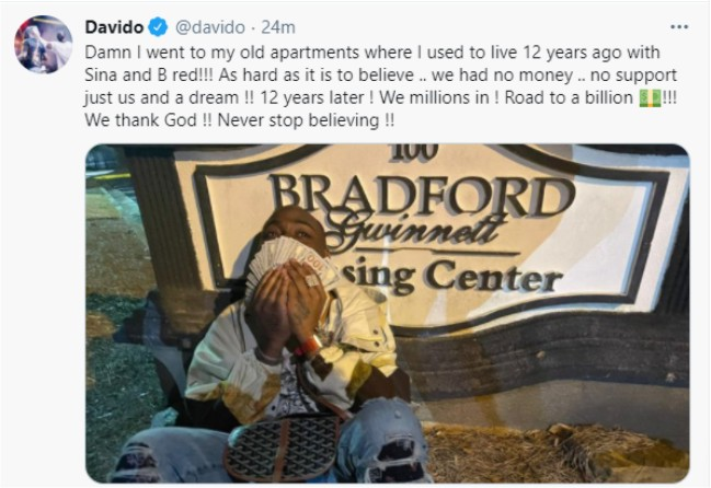 Davido reacts after he visiting his old apartment in the US (photo)