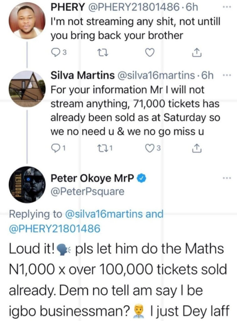 Singer, Peter Okoye replies fan who said he won't stream his music until he reunites with his twin