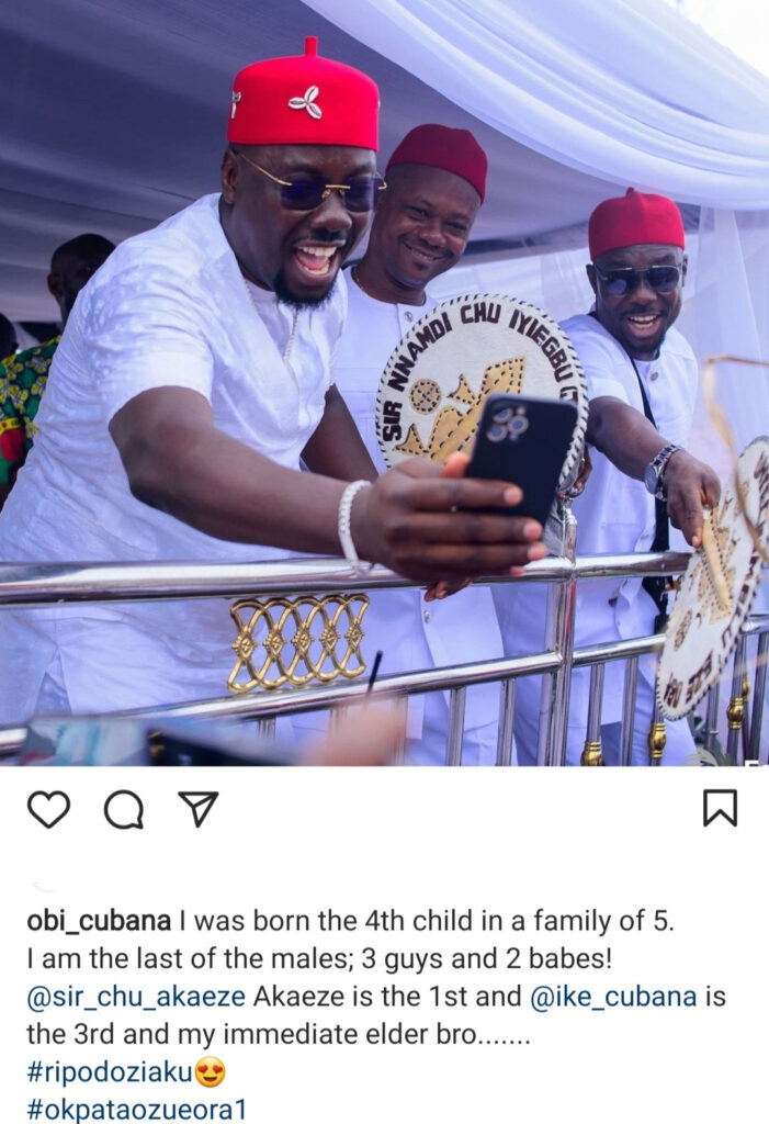 """""""I'm the last of the males,"""" Obi Cubana shows off his elder brothers"""
